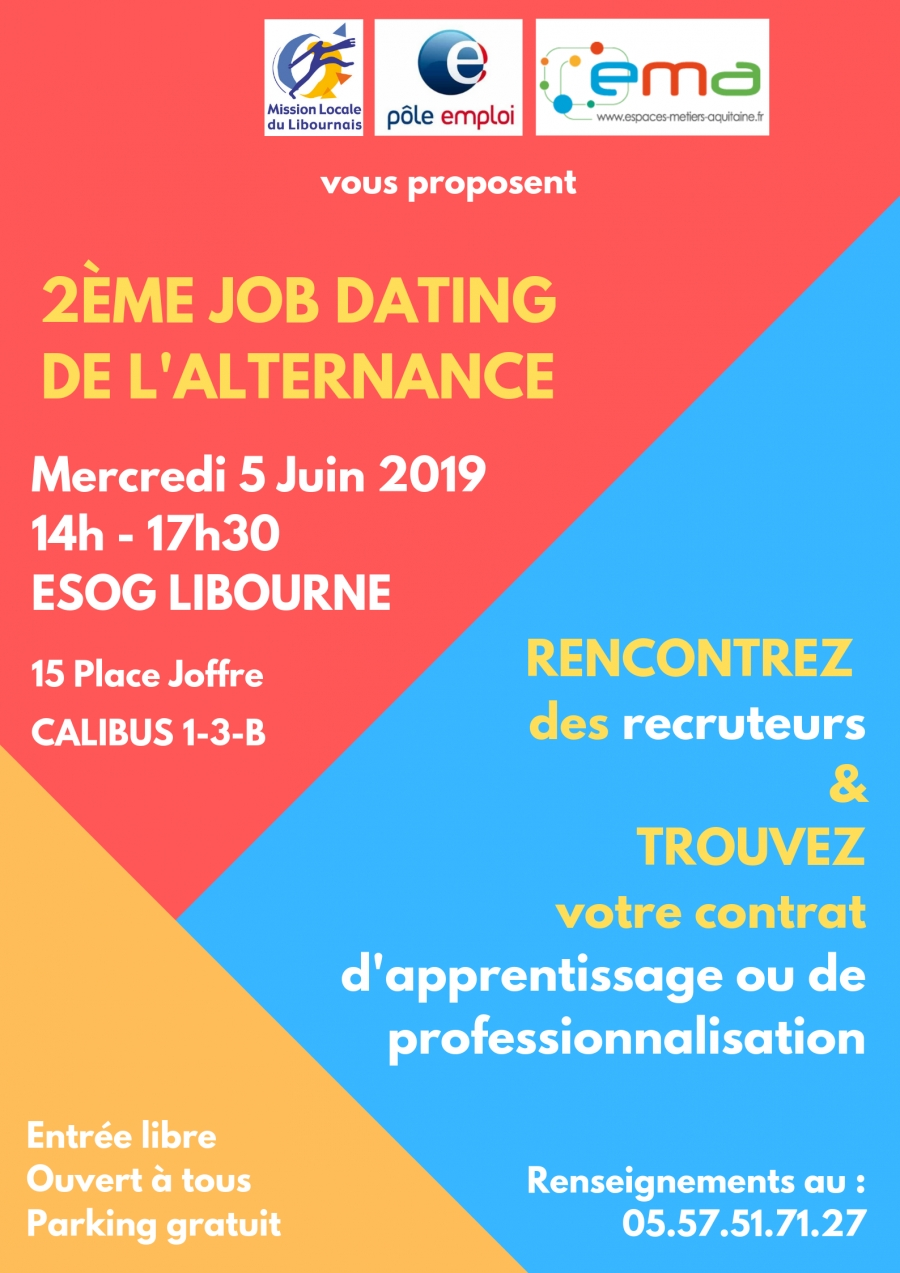 2nd JOB DATING ALTERNANCE le Mercredi 5 juin de 14h à 17h30 à l'ESOG Libourne